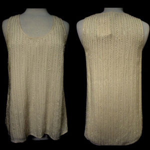 JOIE Beaded Fully Lined Tank Top Ivory Starleen M
